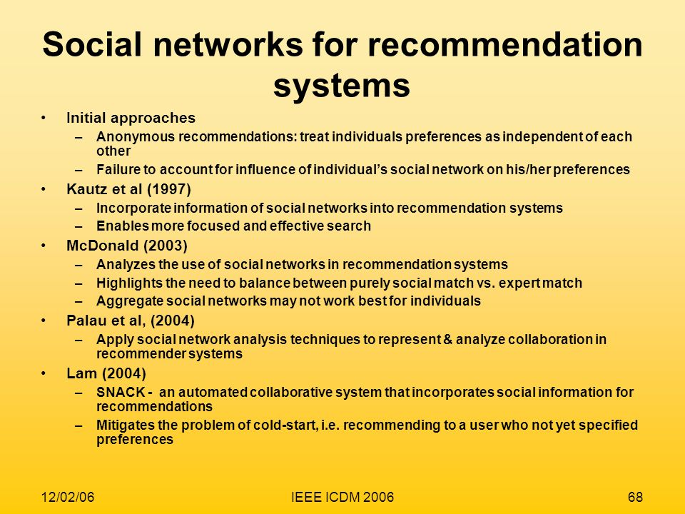 Social networks for recommendation systems