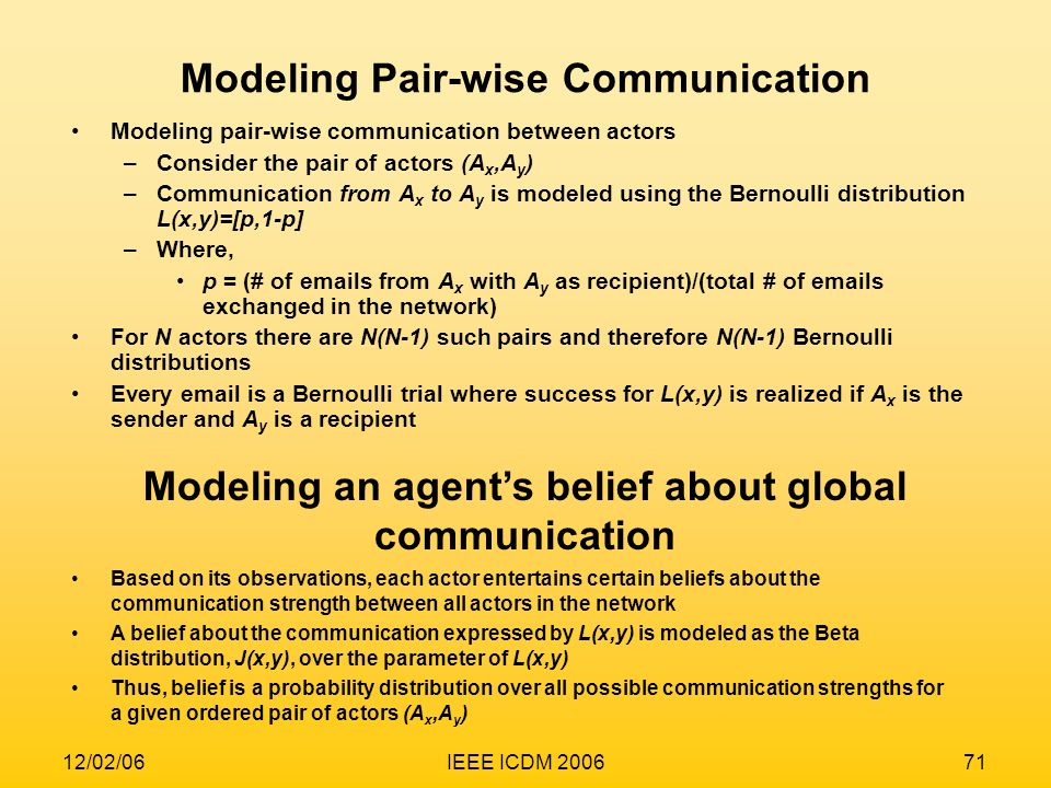 Modeling Pair-wise Communication