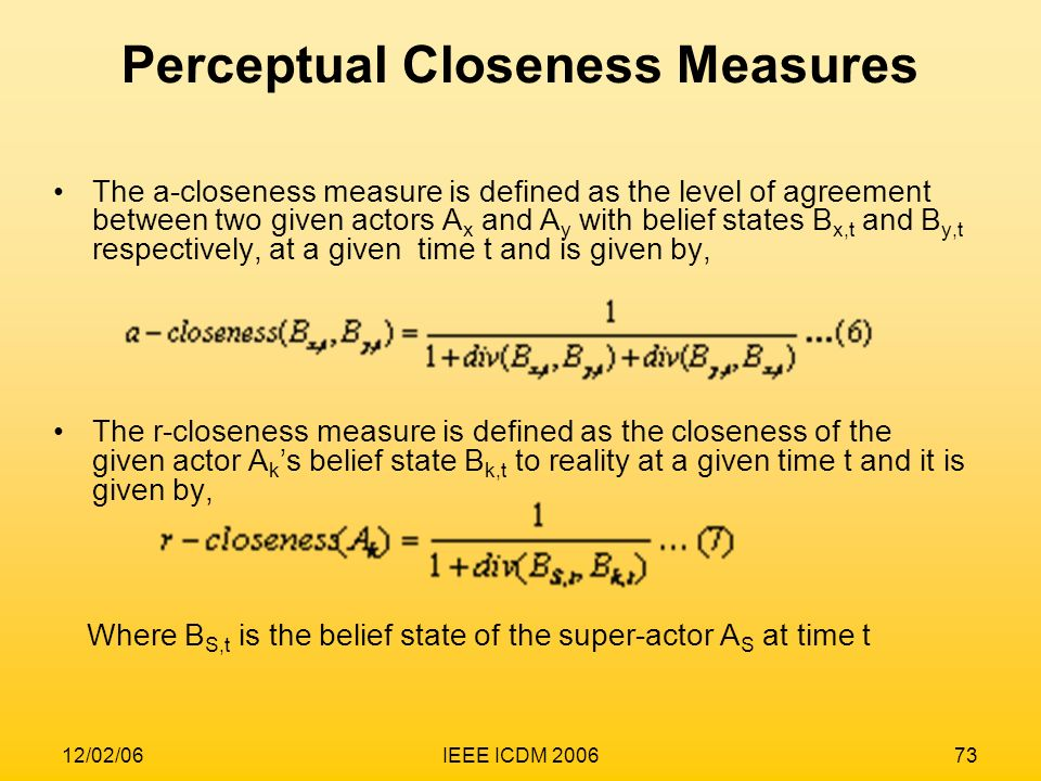 Perceptual Closeness Measures