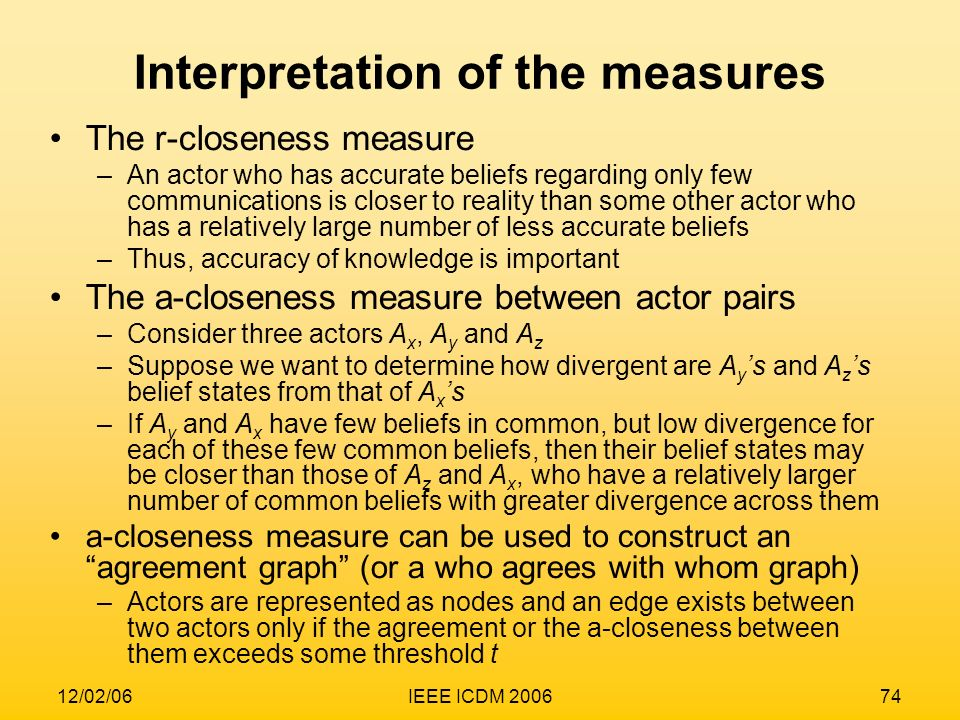 Interpretation of the measures