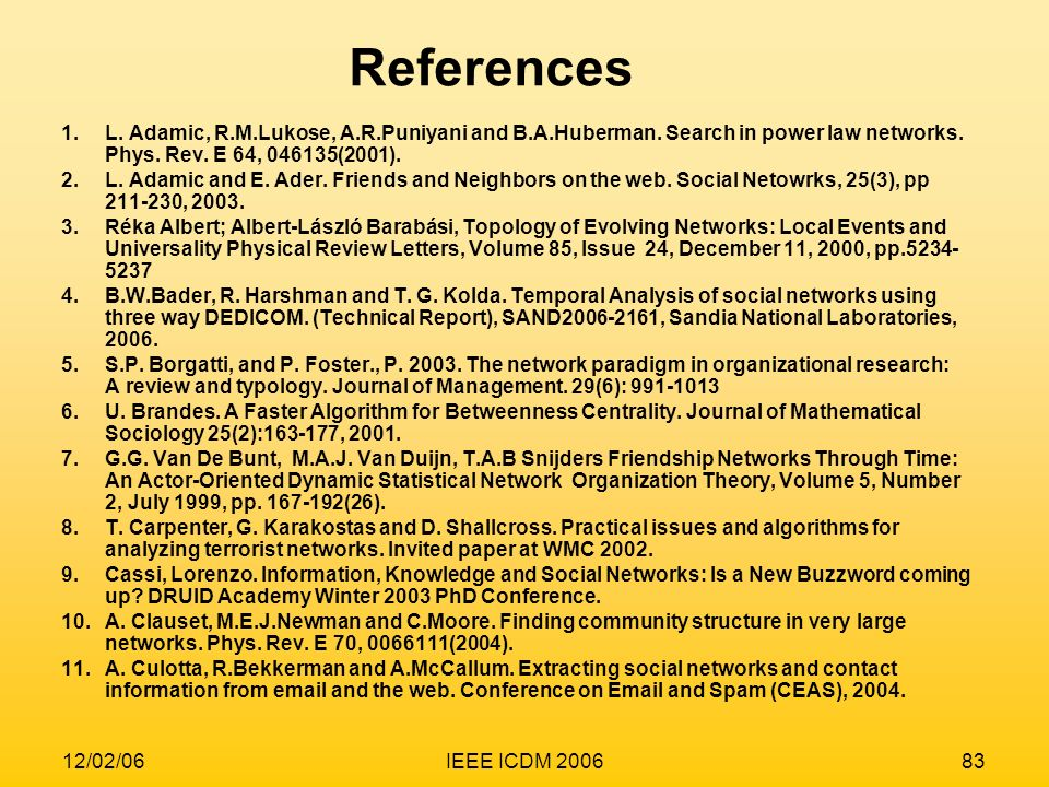 References L. Adamic, R.M.Lukose, A.R.Puniyani and B.A.Huberman. Search in power law networks. Phys. Rev. E 64, (2001).