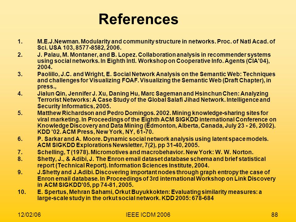 References M.E.J.Newman. Modularity and community structure in networks. Proc. of Natl Acad. of Sci. USA 103, ,