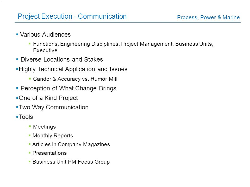 Project Execution - Communication
