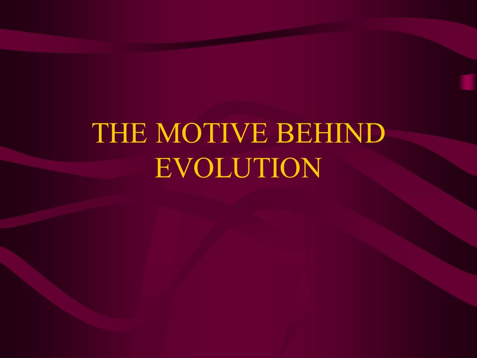 THE MOTIVE BEHIND EVOLUTION