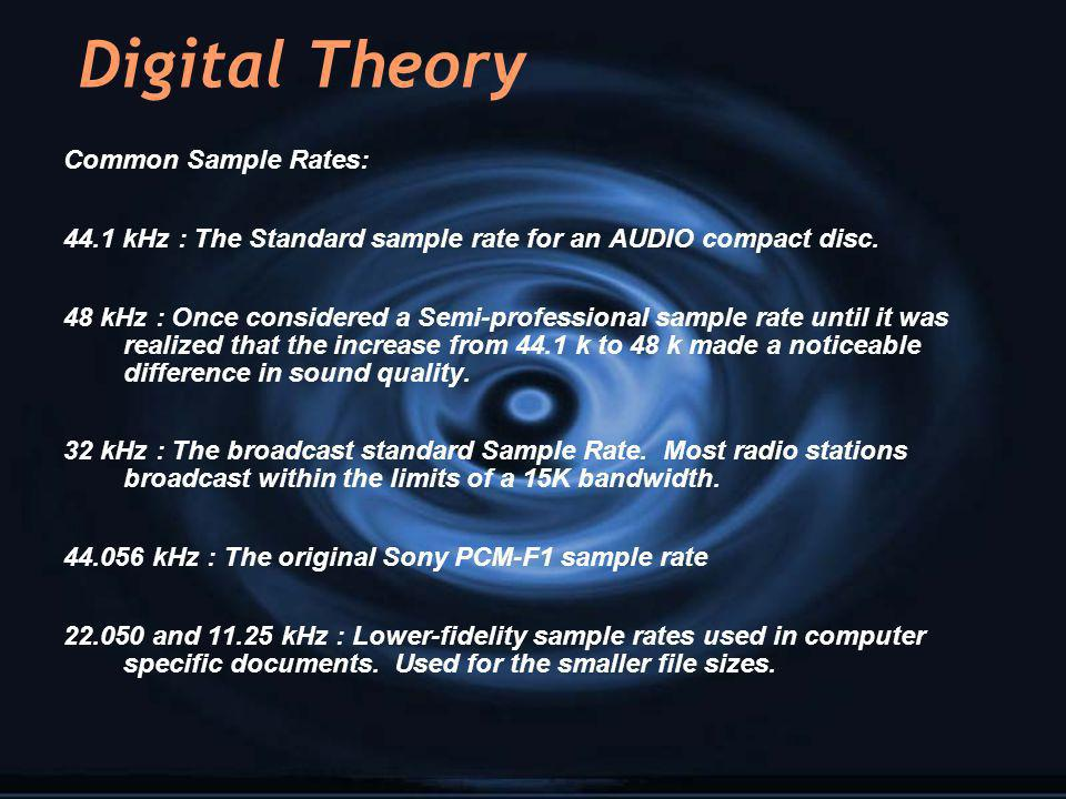 Digital Theory Common Sample Rates:
