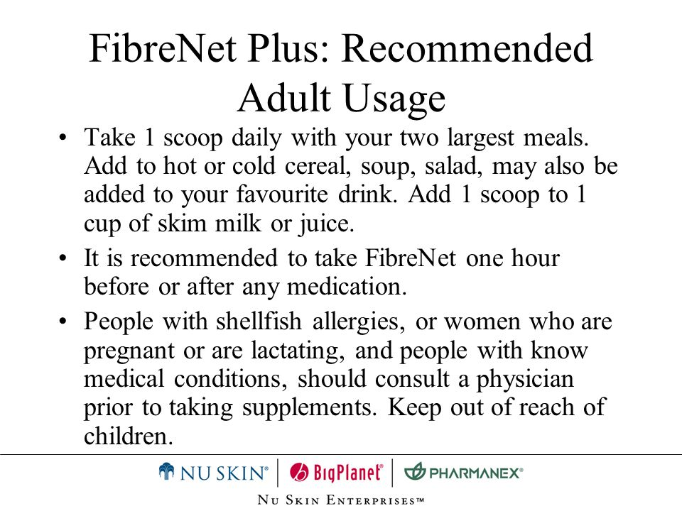 FibreNet Plus: Recommended Adult Usage