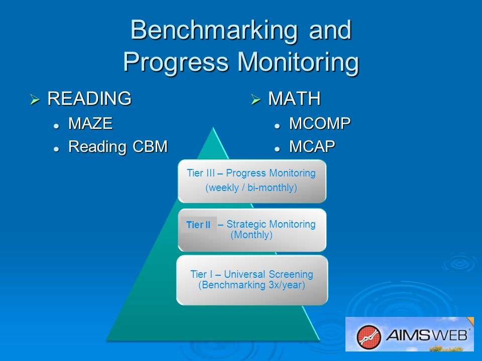 Benchmarking and Progress Monitoring