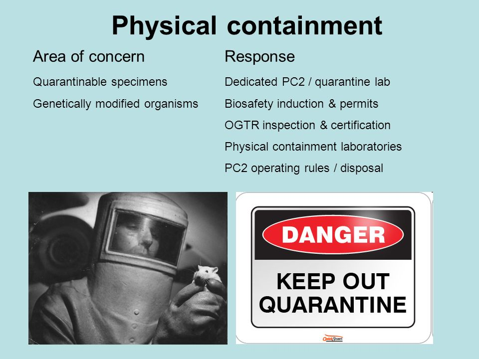 Physical containment Area of concern Response