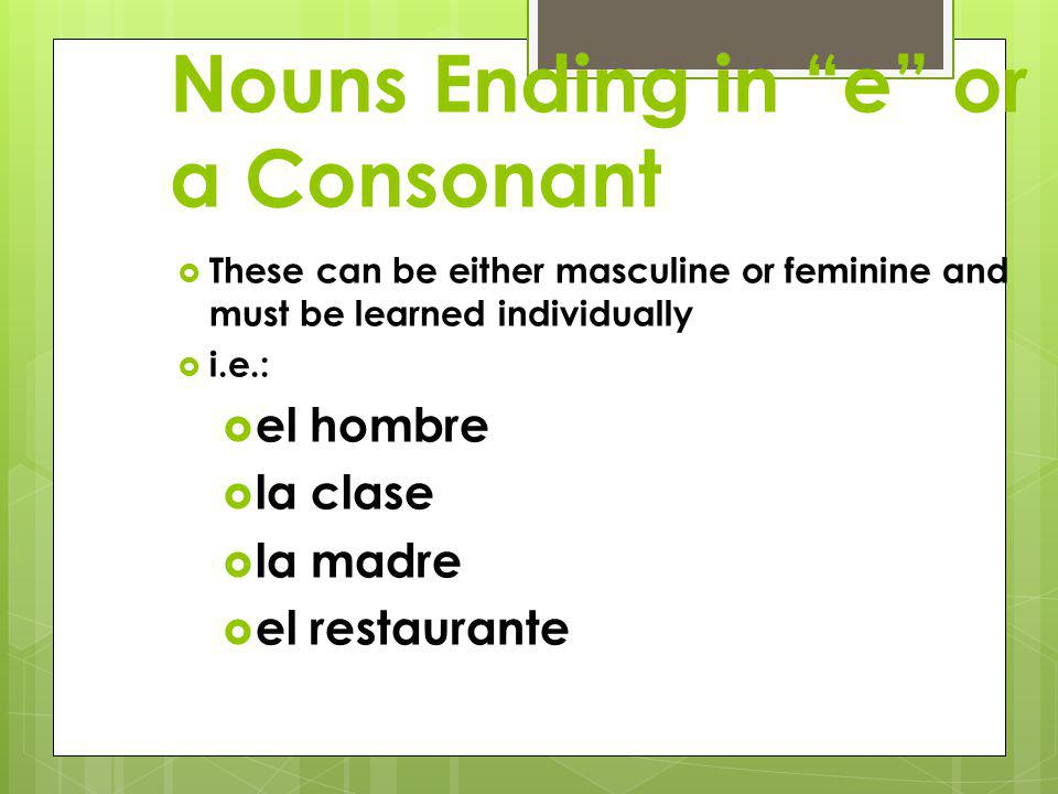 Nouns Ending in e or a Consonant