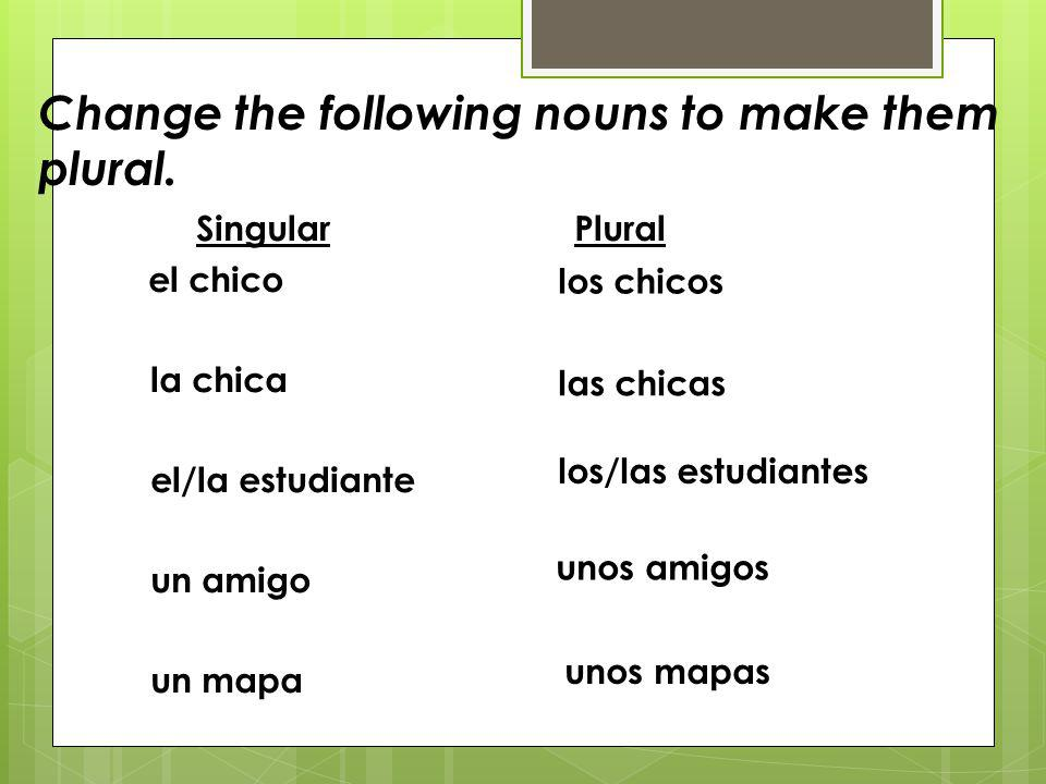Change the following nouns to make them plural.