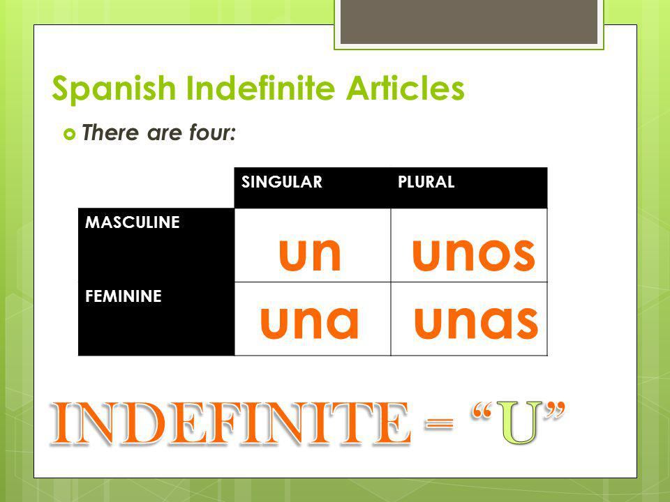 Spanish Indefinite Articles