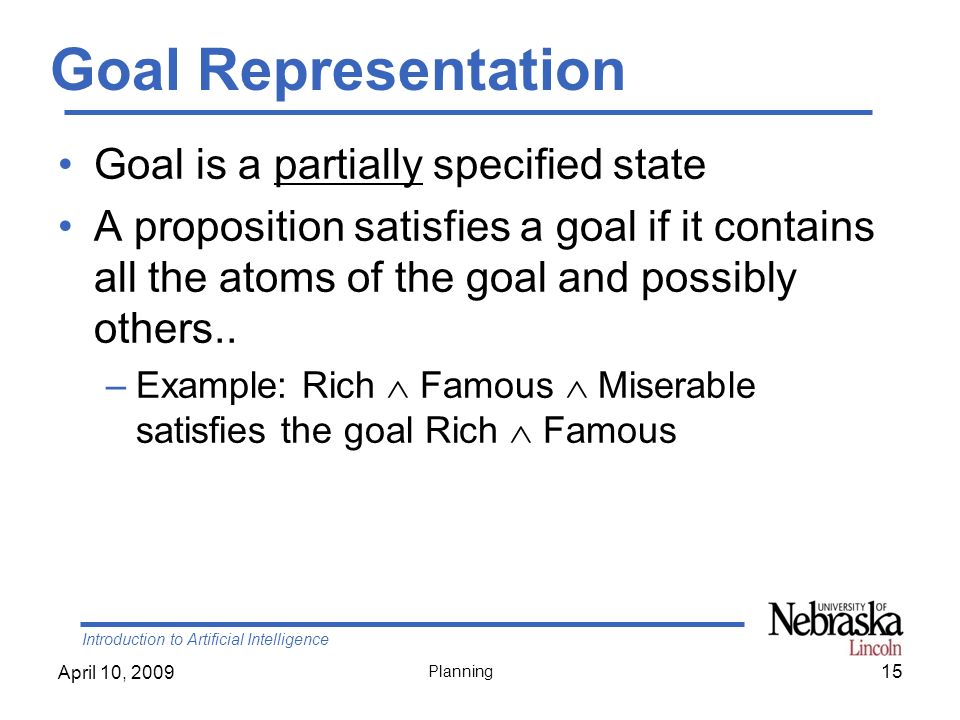 Goal Representation Goal is a partially specified state