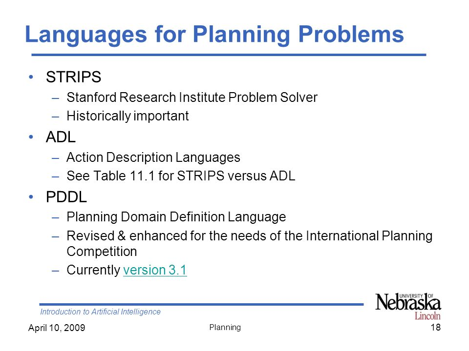 Languages for Planning Problems