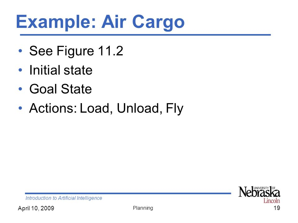Example: Air Cargo See Figure 11.2 Initial state Goal State