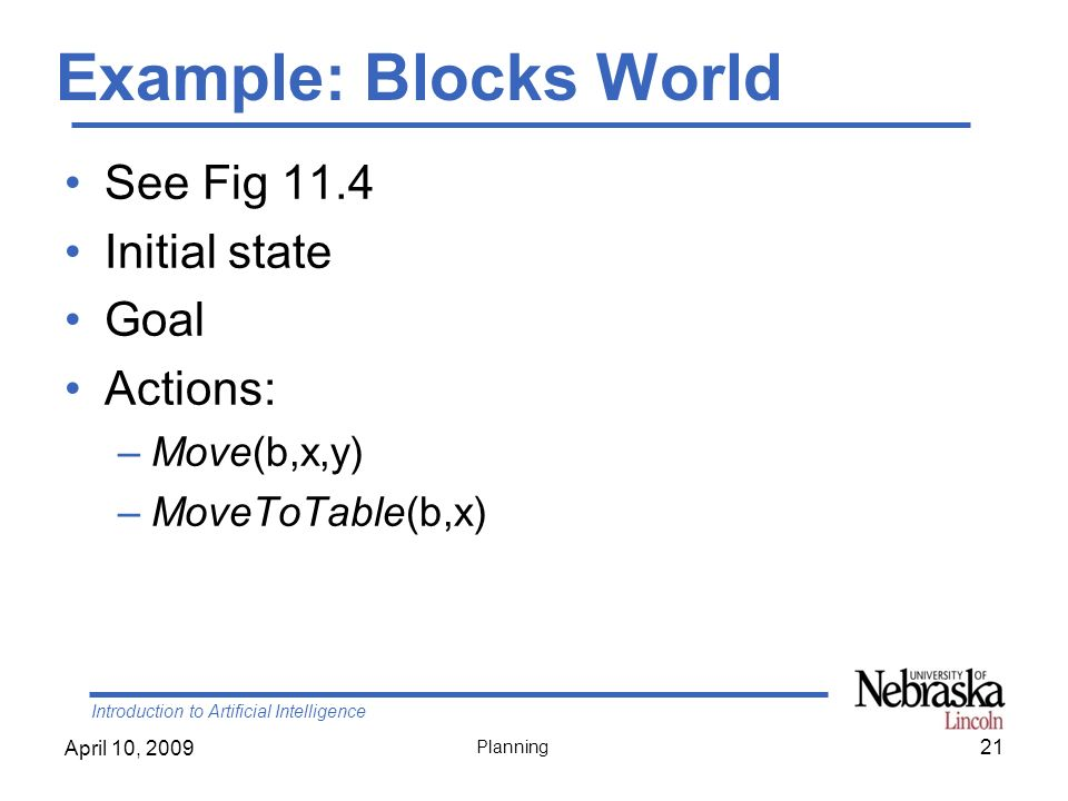 Example: Blocks World See Fig 11.4 Initial state Goal Actions: