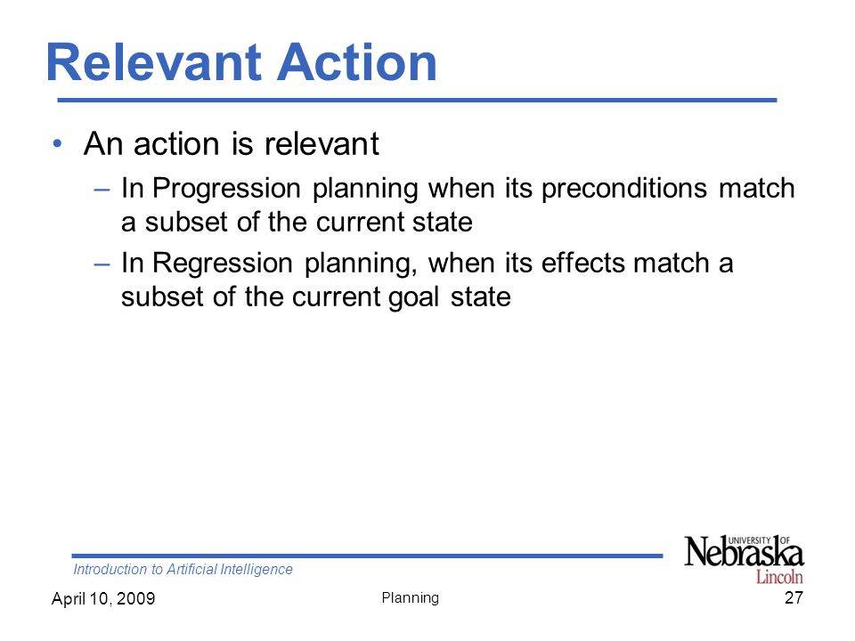 Relevant Action An action is relevant