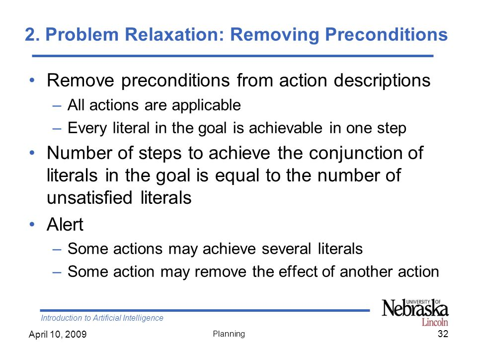 2. Problem Relaxation: Removing Preconditions