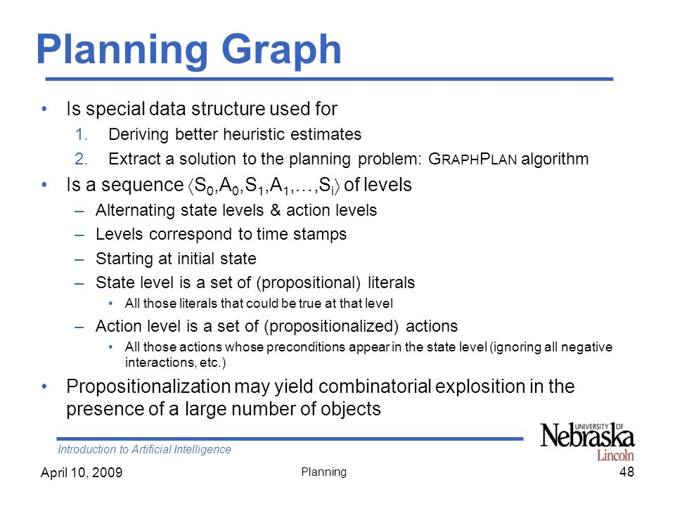 Planning Graph  Is special data structure used for
