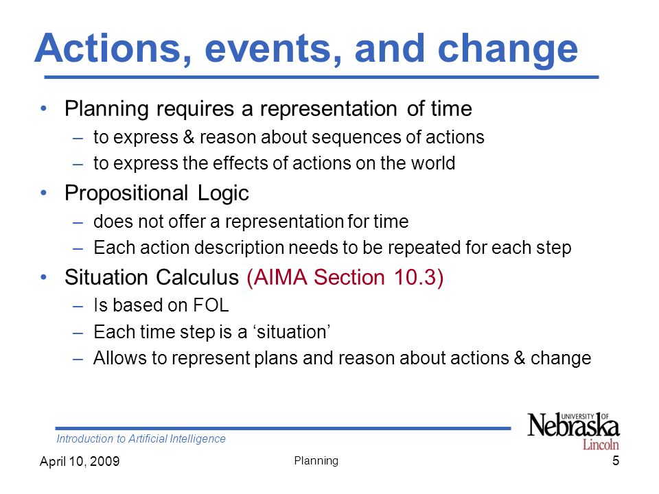 Actions, events, and change