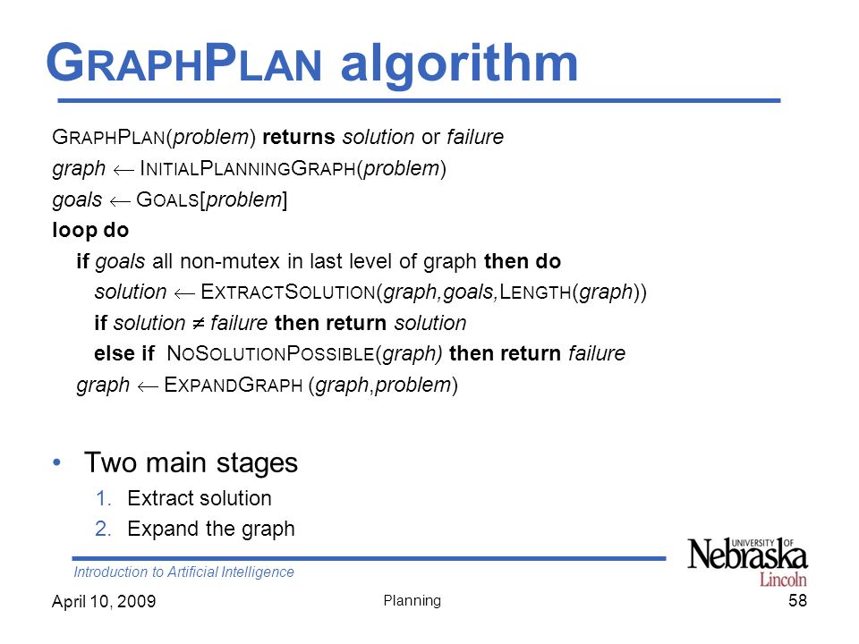 GraphPlan algorithm Two main stages