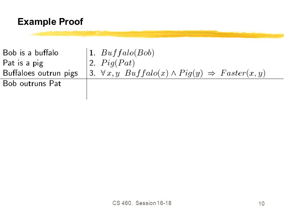 Example Proof CS 460, Session 16-18