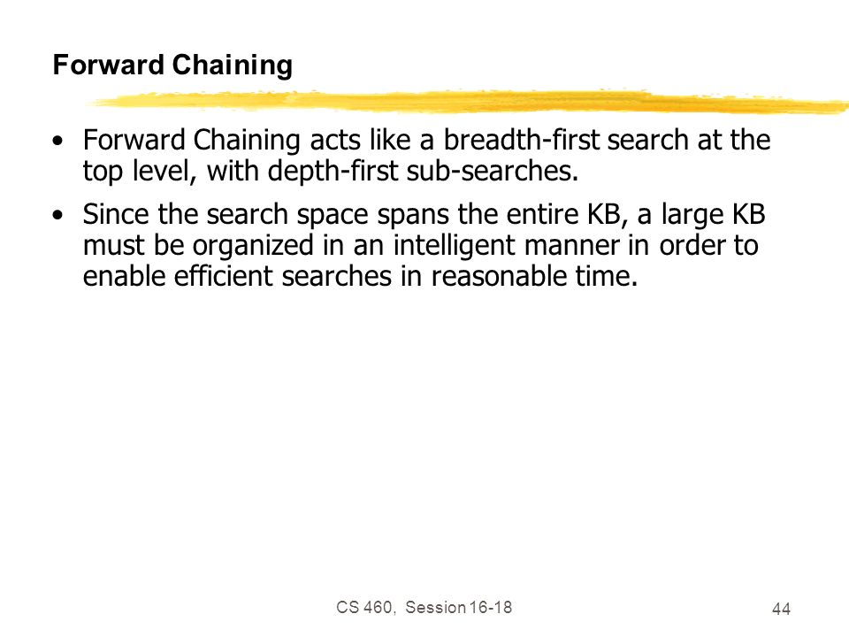 Forward Chaining Forward Chaining acts like a breadth-first search at the top level, with depth-first sub-searches.