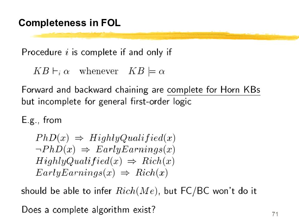 Completeness in FOL CS 460, Session 16-18