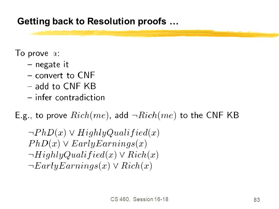 Getting back to Resolution proofs …