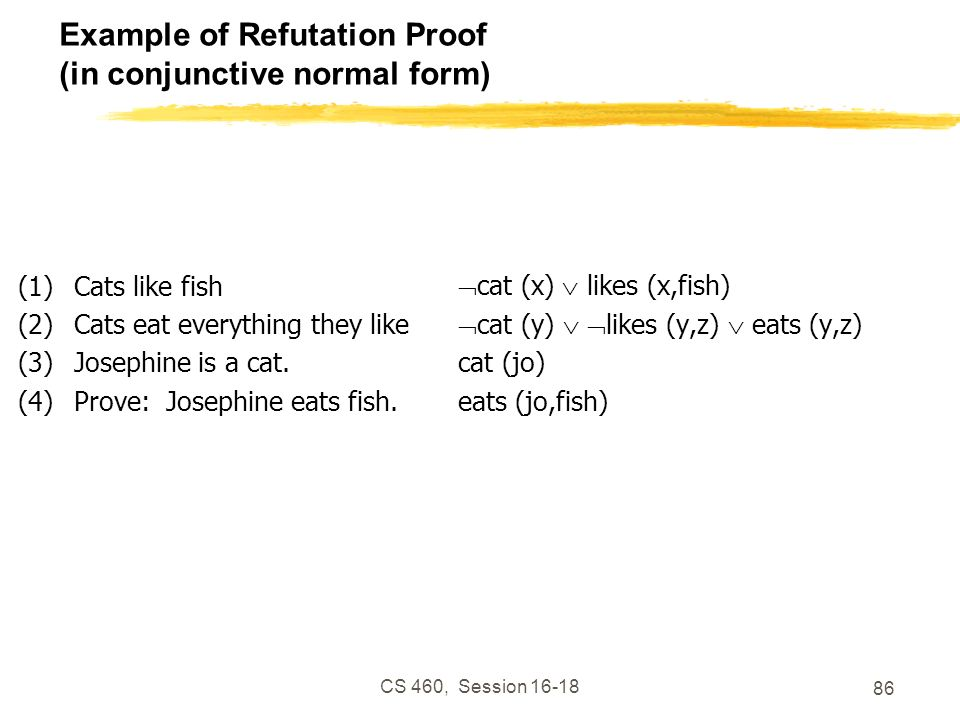 Example of Refutation Proof (in conjunctive normal form)
