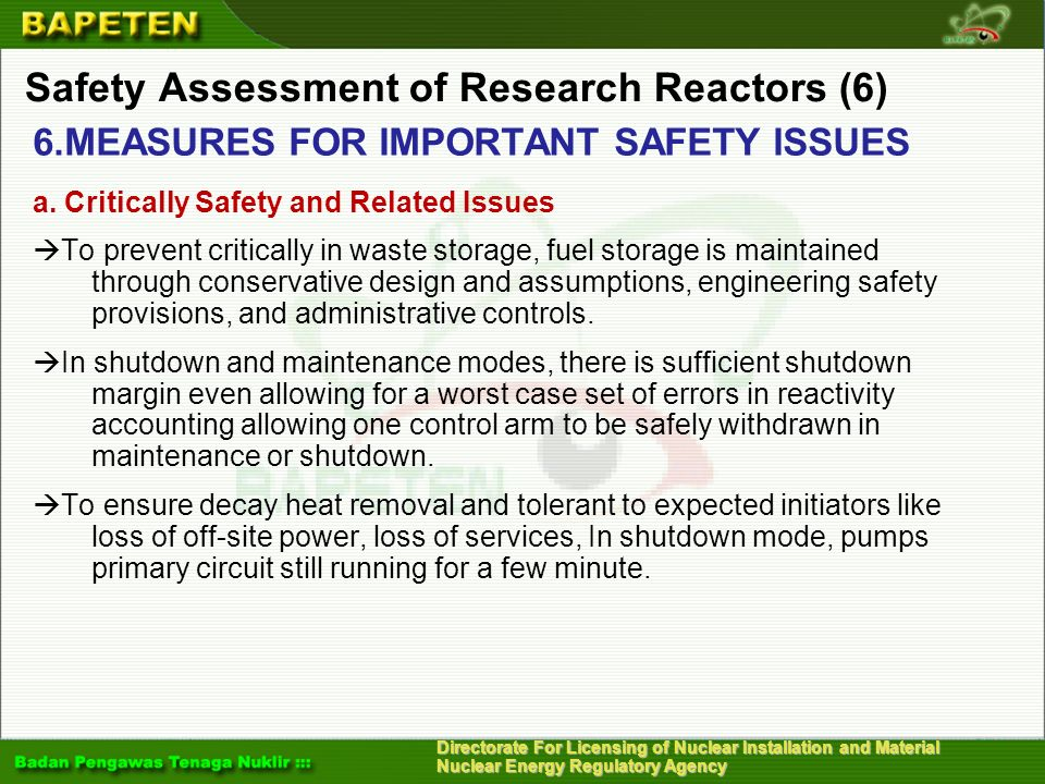 Safety Assessment of Research Reactors (6)