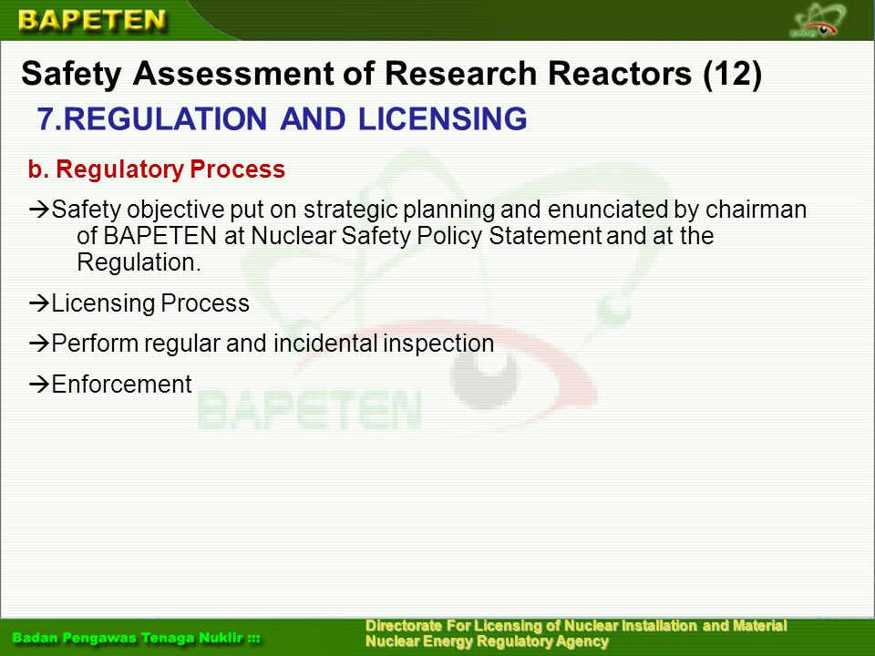 Safety Assessment of Research Reactors (12)