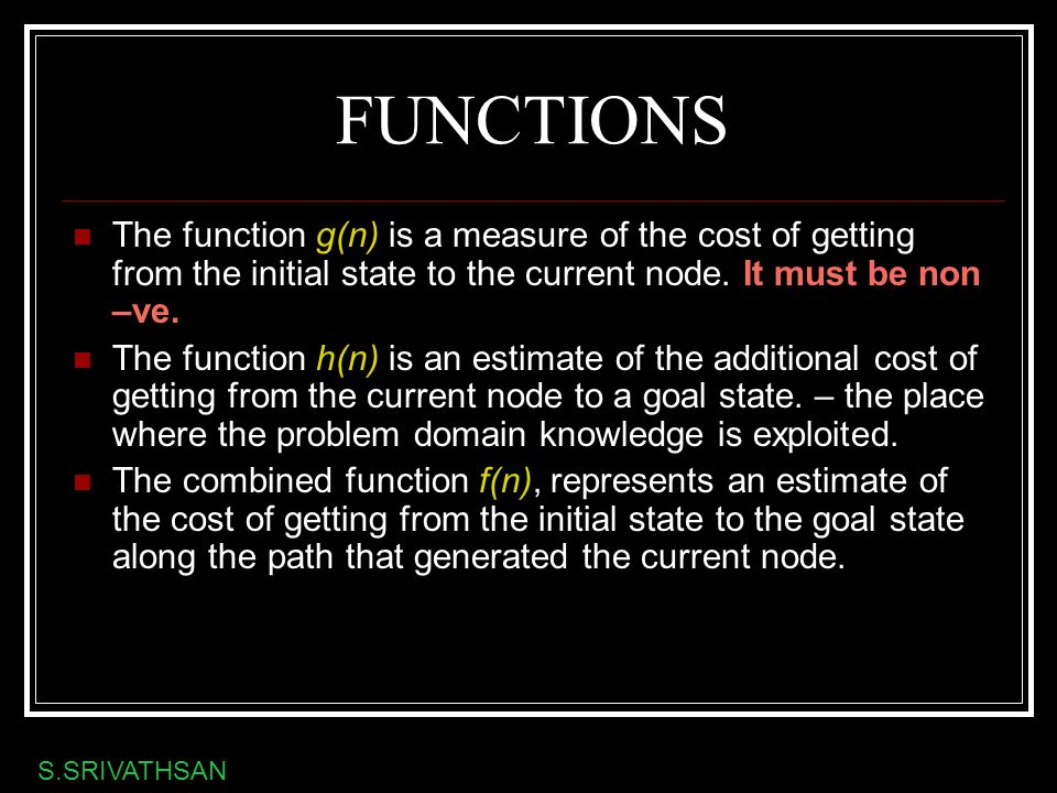 FUNCTIONS The function g(n) is a measure of the cost of getting from the initial state to the current node. It must be non –ve.
