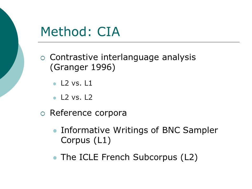 Method: CIA Contrastive interlanguage analysis (Granger 1996)
