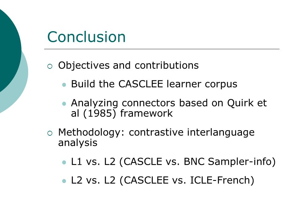 Conclusion Objectives and contributions