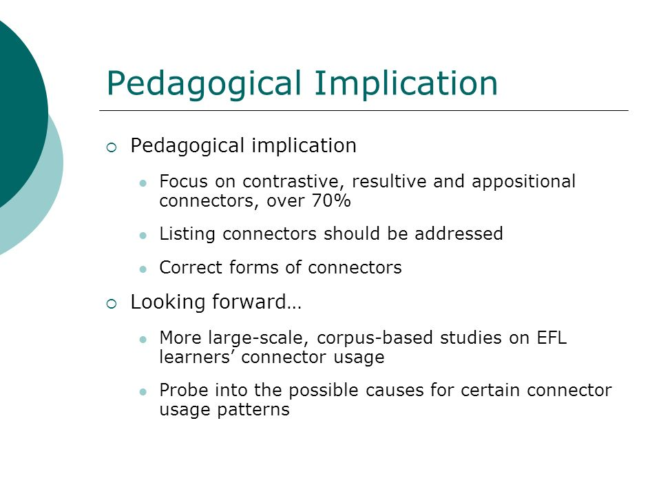 Pedagogical Implication
