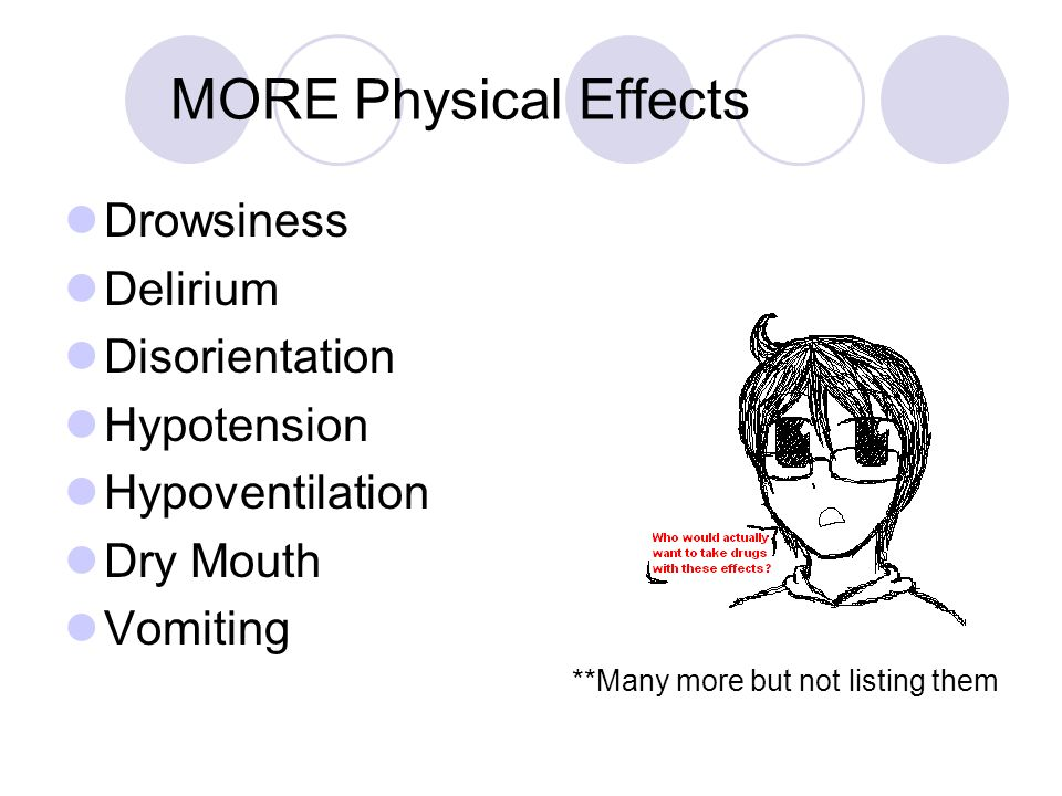 MORE Physical Effects Drowsiness Delirium Disorientation Hypotension