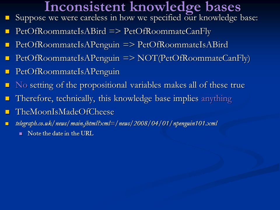 Inconsistent knowledge bases
