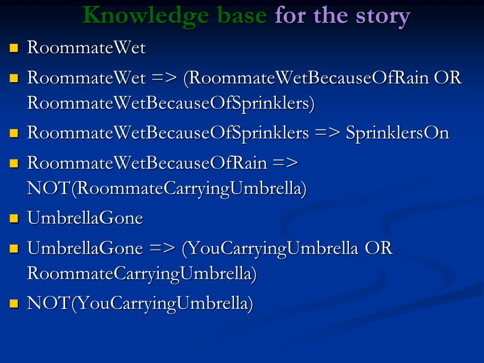 Knowledge base for the story