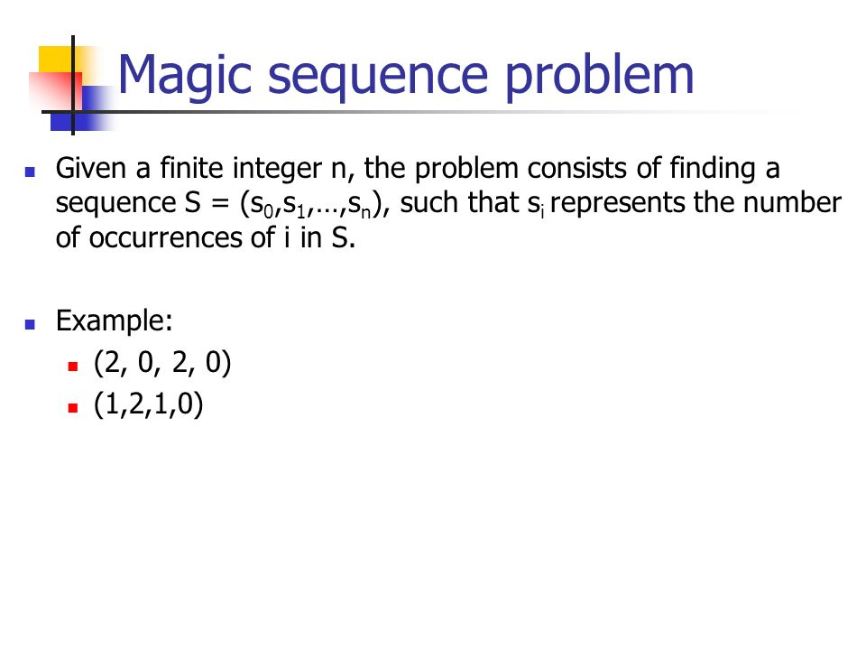 Magic sequence problem