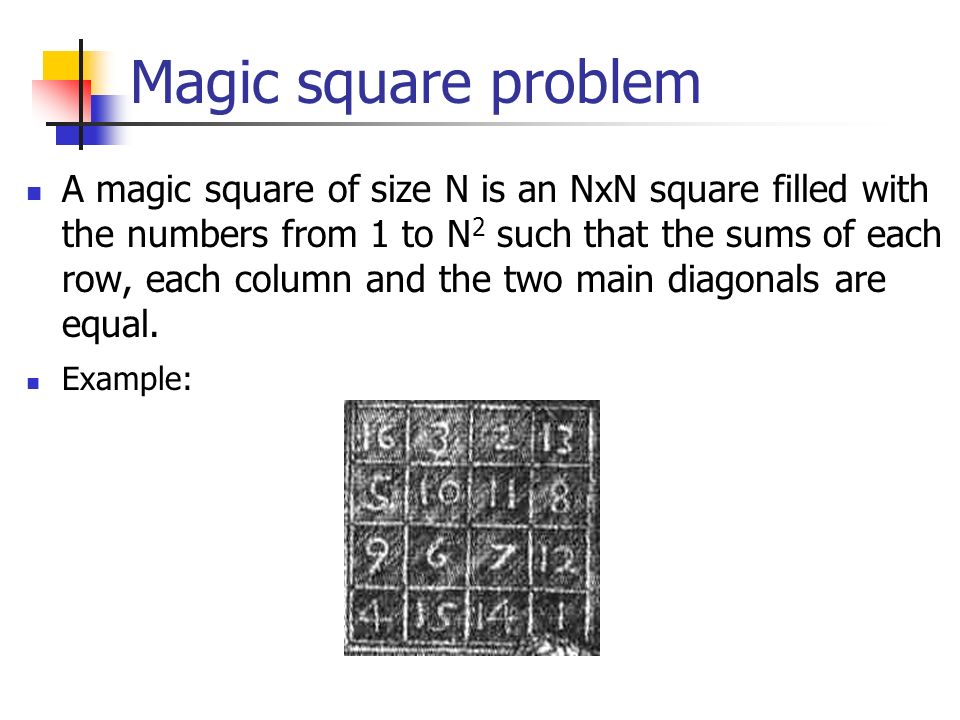 Magic square problem