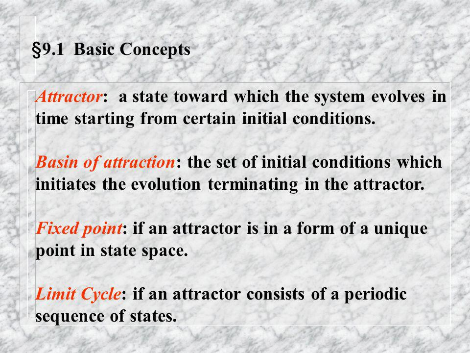 §9.1 Basic Concepts Attractor: a state toward which the system evolves in. time starting from certain initial conditions.