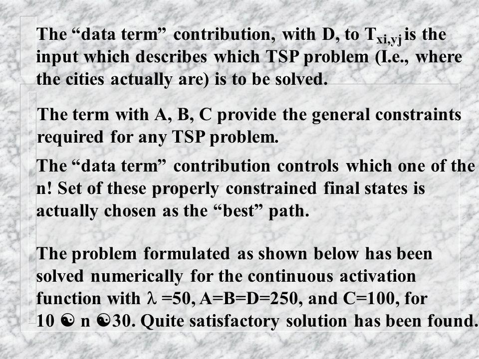 The data term contribution, with D, to T is the