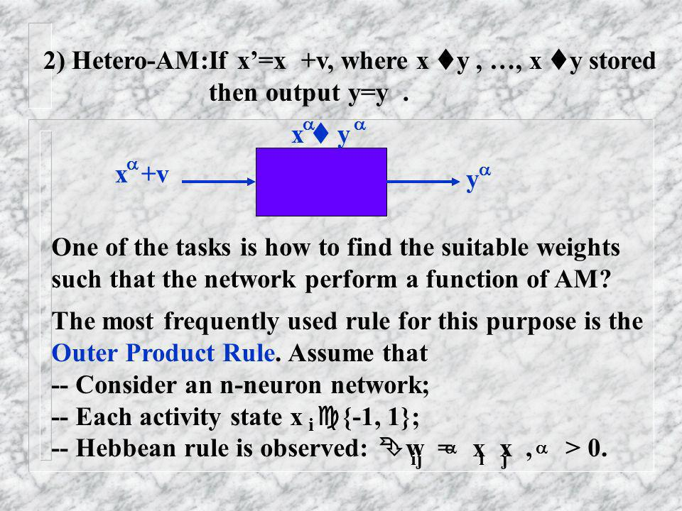 2) Hetero-AM:If x'=x +v, where x y , …, x y stored then output y=y .