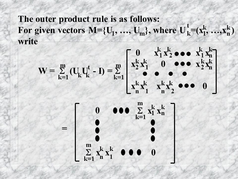 The outer product rule is as follows: