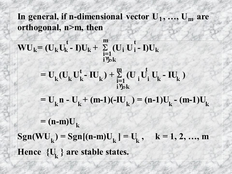In general, if n-dimensional vector U , …, U are