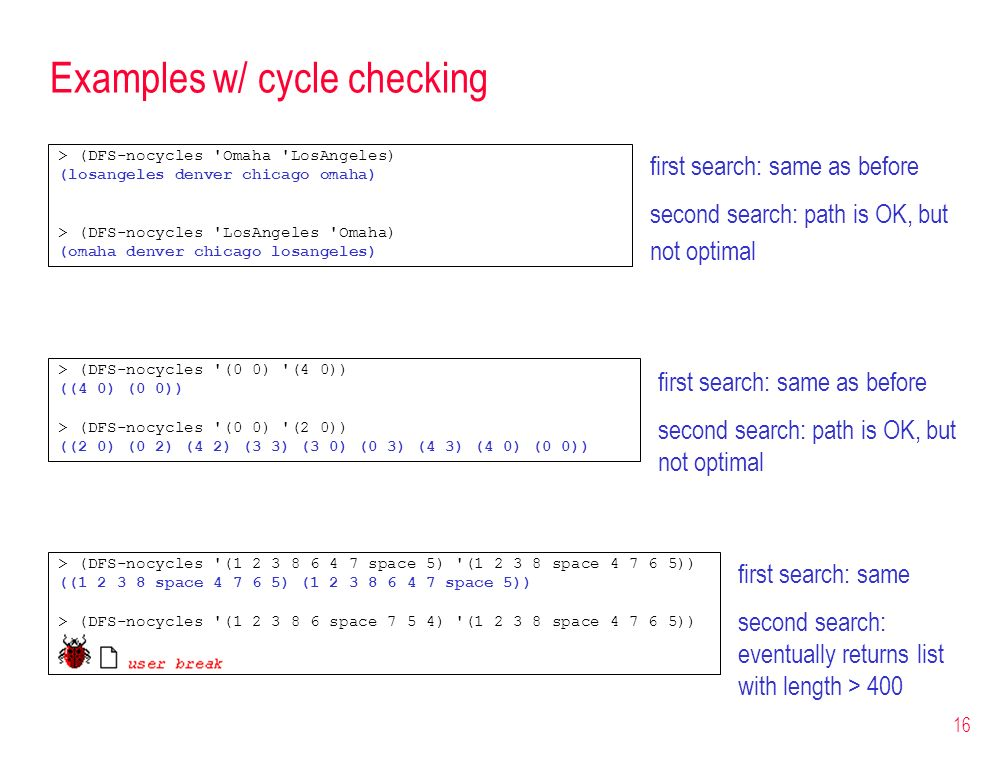 Examples w/ cycle checking