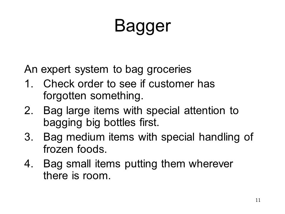 Bagger An expert system to bag groceries