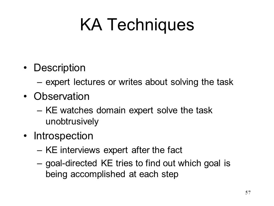 KA Techniques Description Observation Introspection