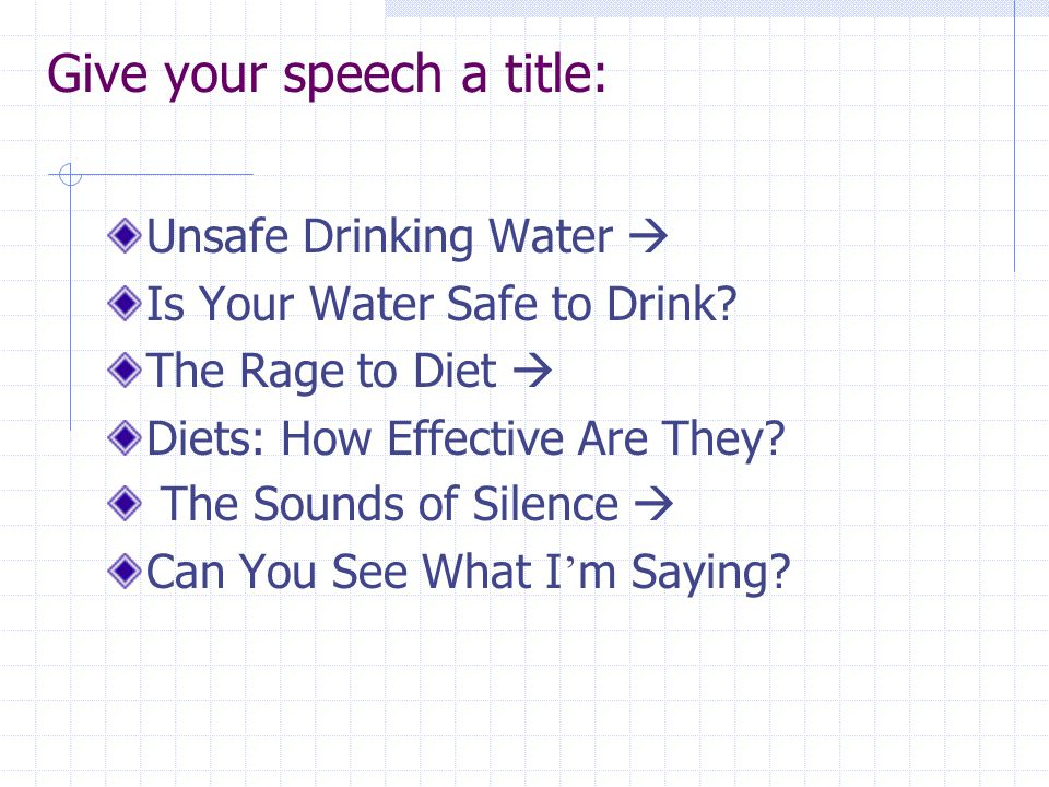 what is water speech