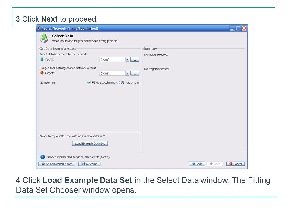 3 Click Next to proceed. 4 Click Load Example Data Set in the Select Data window.